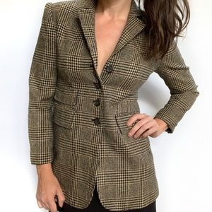 Ralph Lauren Blazer Wool Houndstooth Plaid LRL